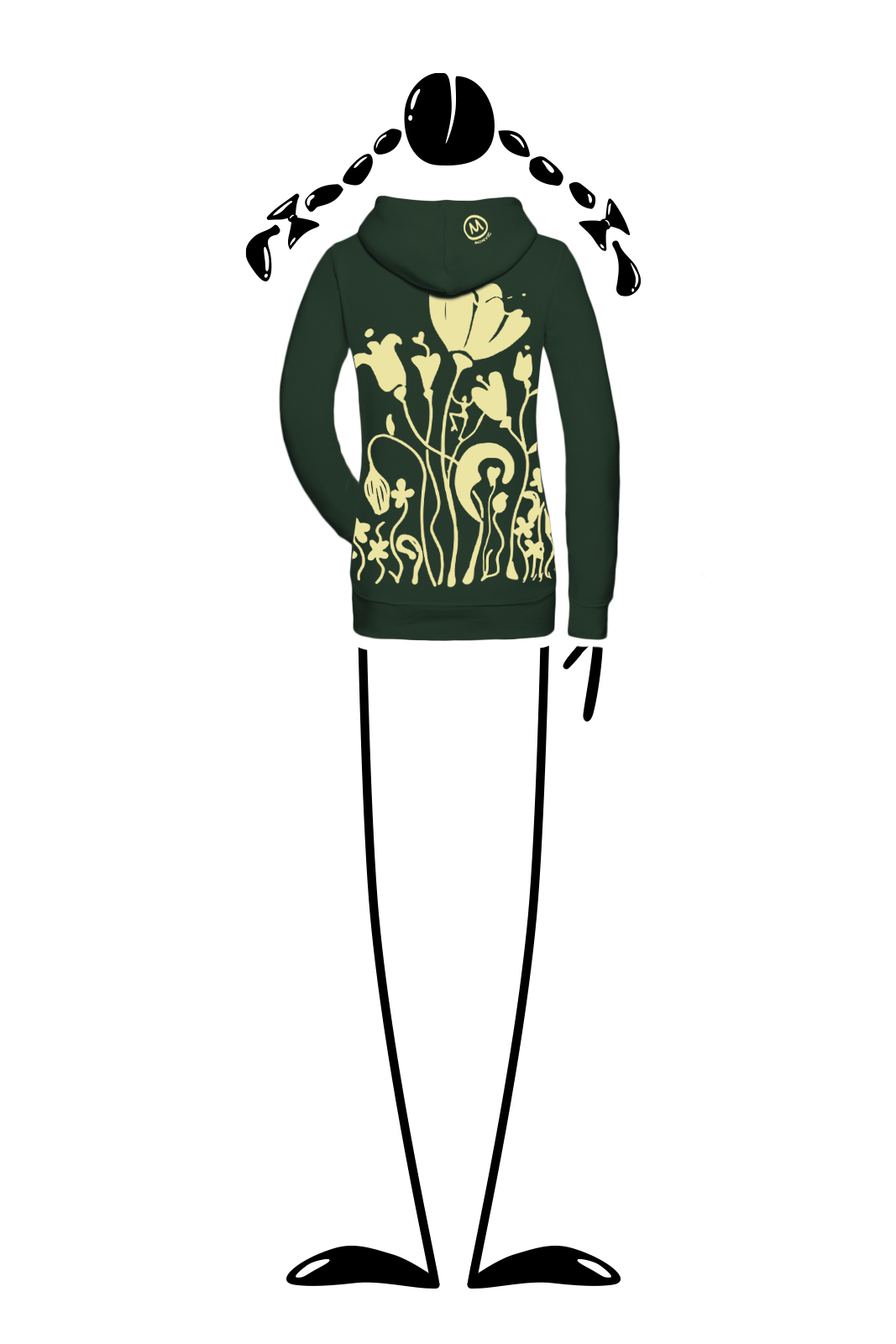 hoodie woman forest green FEDRA Monvic