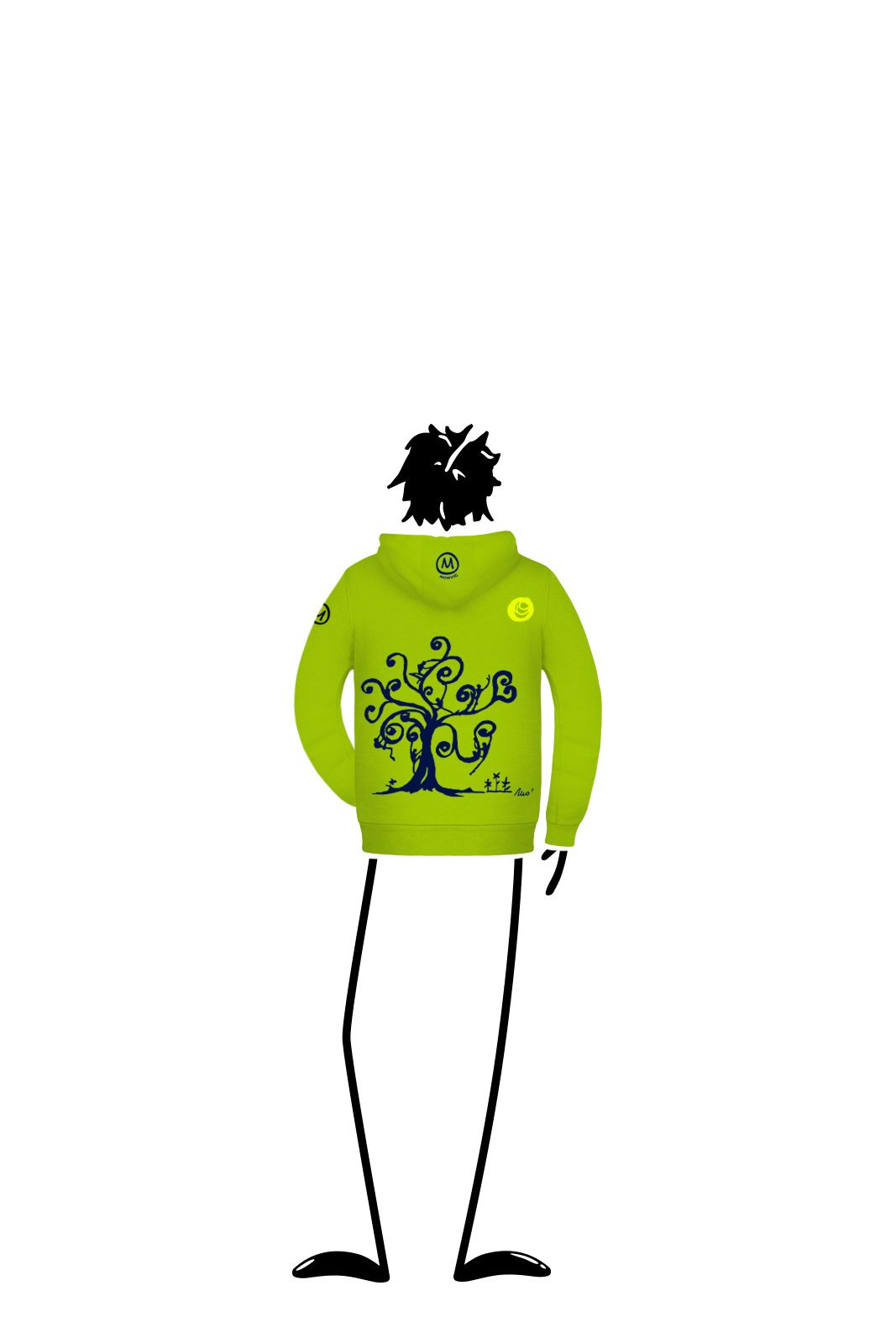 Hoodie kids with zip lime green LOLA Monvic
