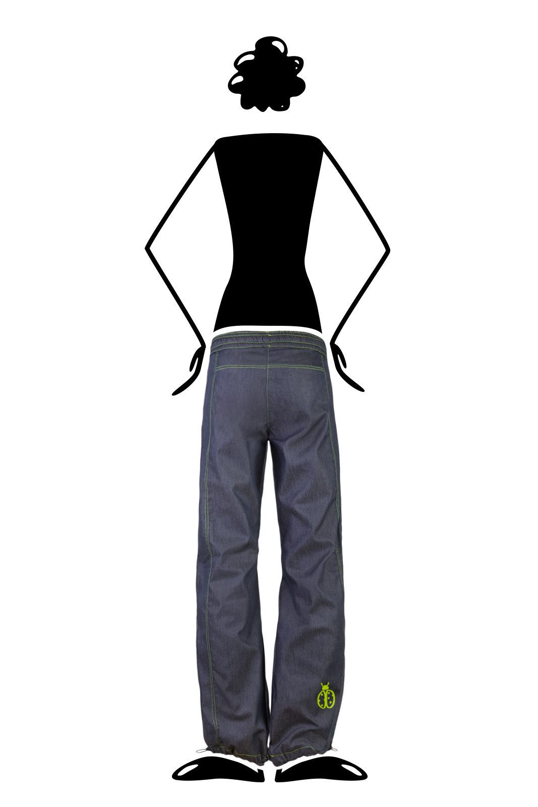 woman climbing jeans contrast green stitching VIOLET Monvic