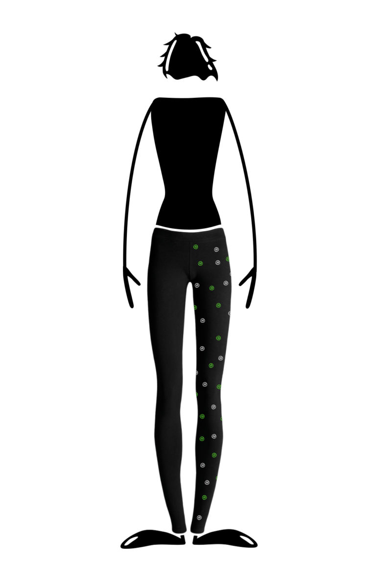 Long leggings for women black with green and white graphic MIMÌ Monvic