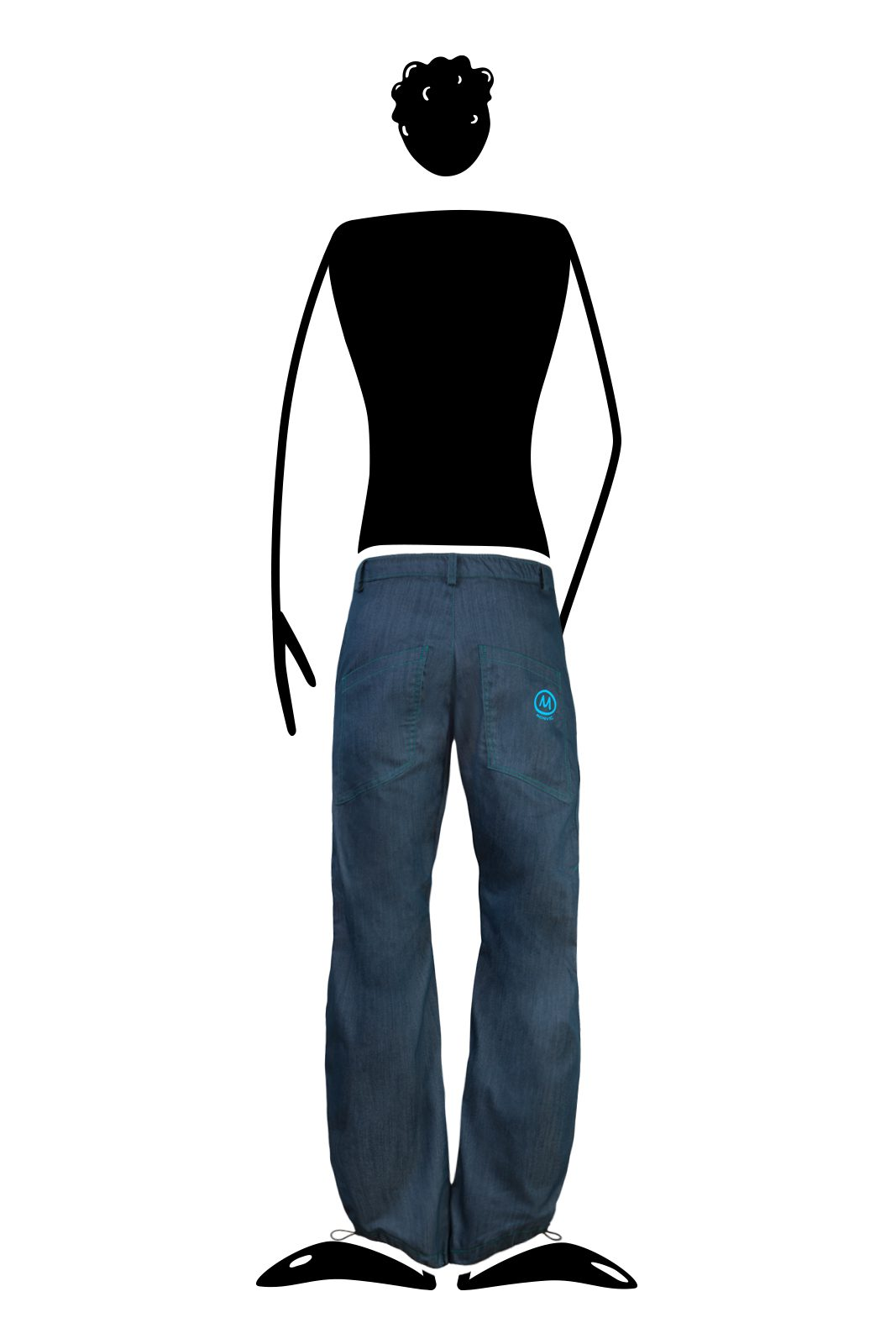 Jeans escalade pour homme coutures turquoise BILLY 2 Monvic