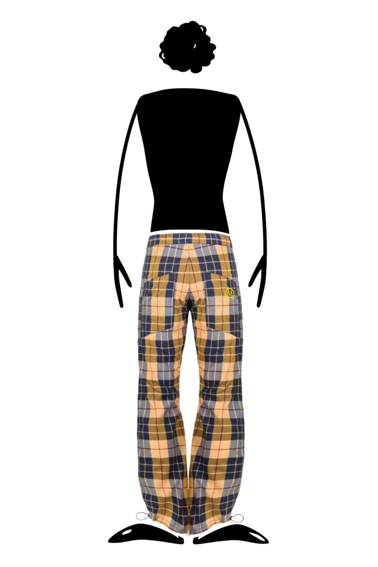 trousers for trekking men extra light cotton poplin yellow and blue Prince of Wales CLOWN Monvic