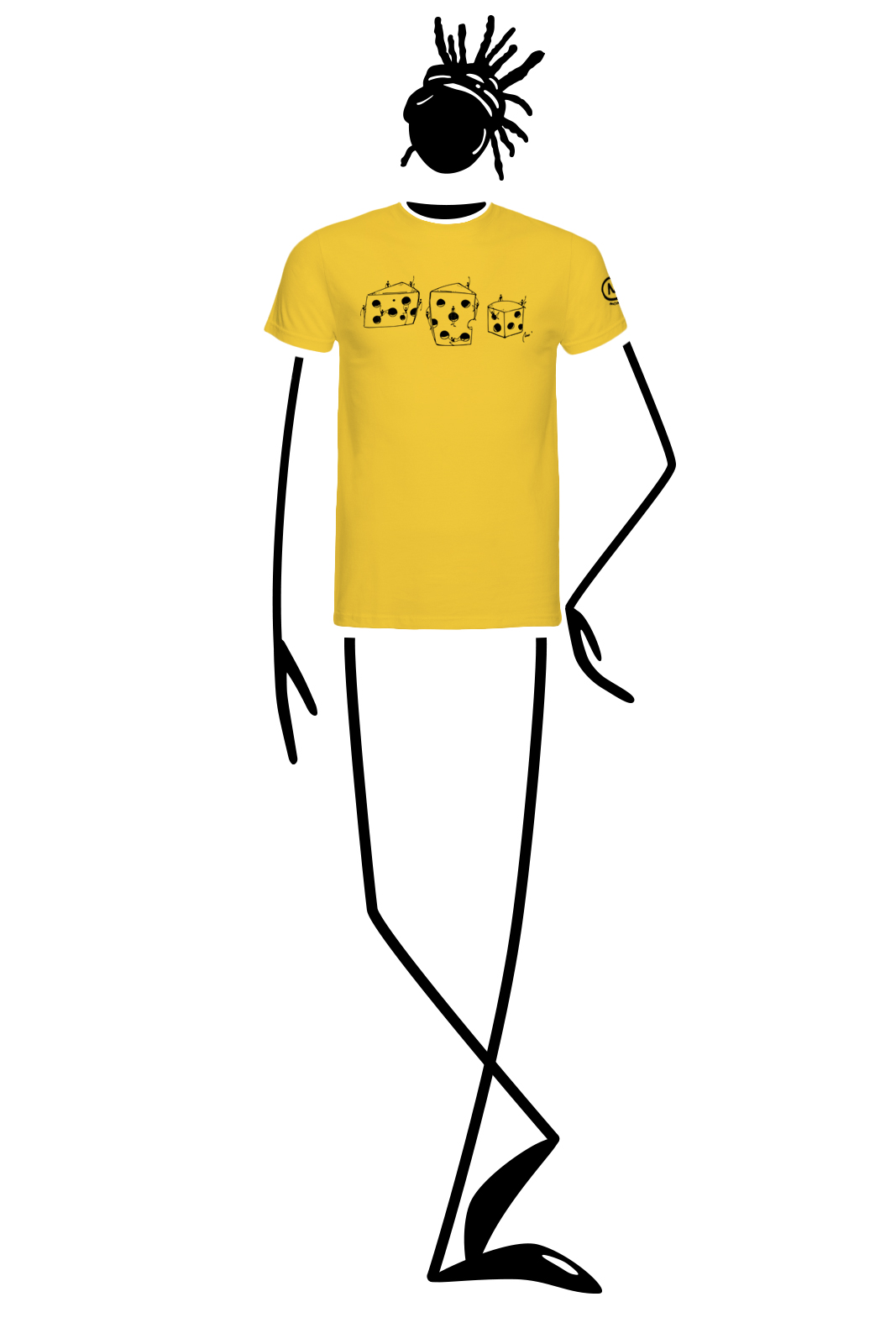 t-shirt homme jaune HASH Monvic fromage