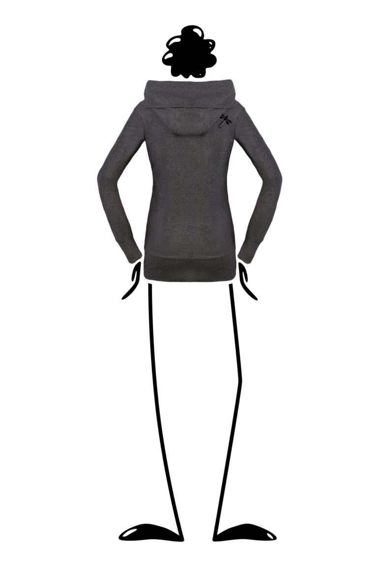 Women hoodie with wide hood carbon cotton ET Monvic