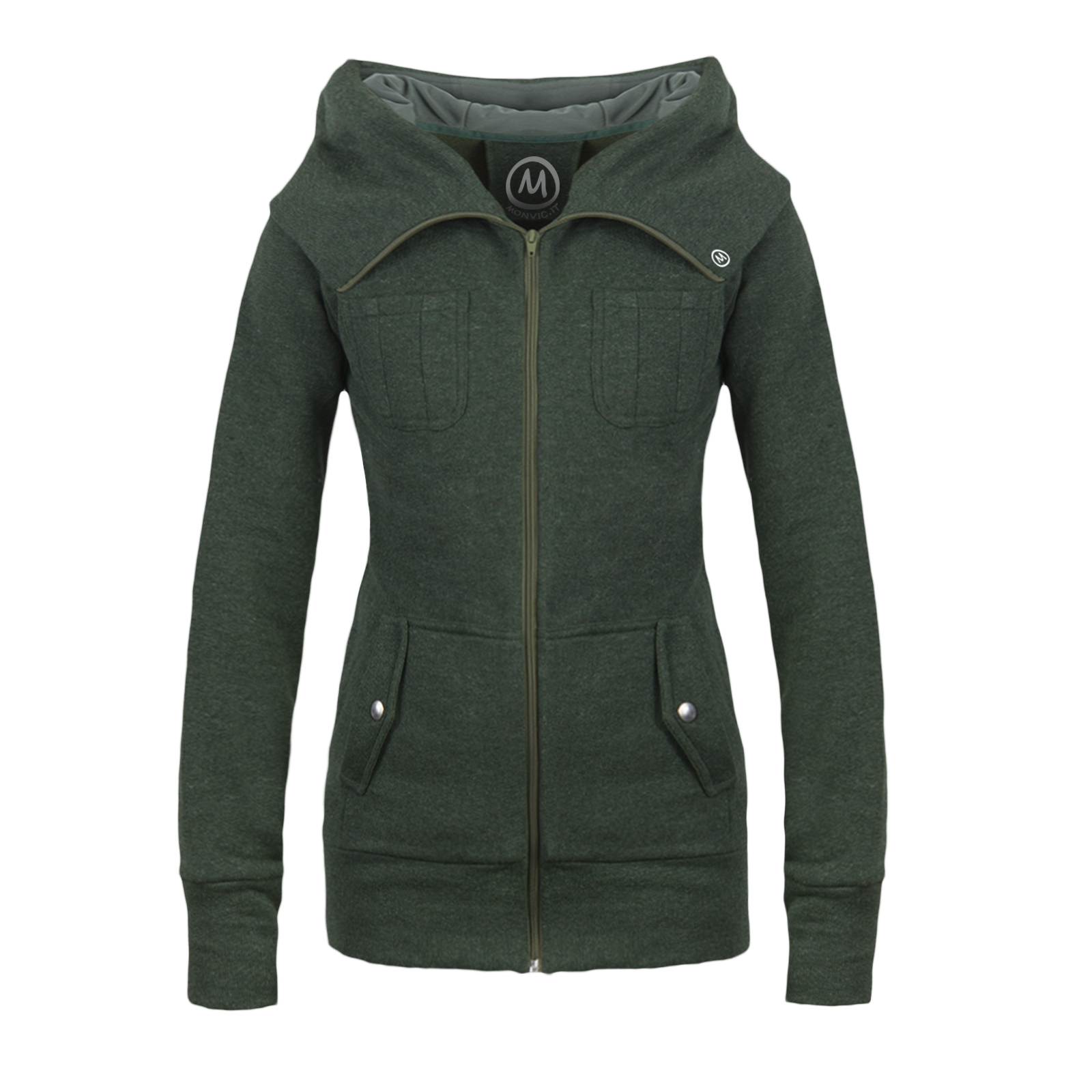 Wool Jacket women forest green with wide hood ET Monvic
