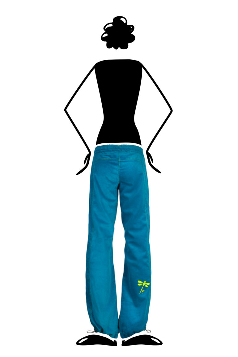 Women's Climbing trousers in soft stretch corduroy turquoise VIOLET VELVET Monvic