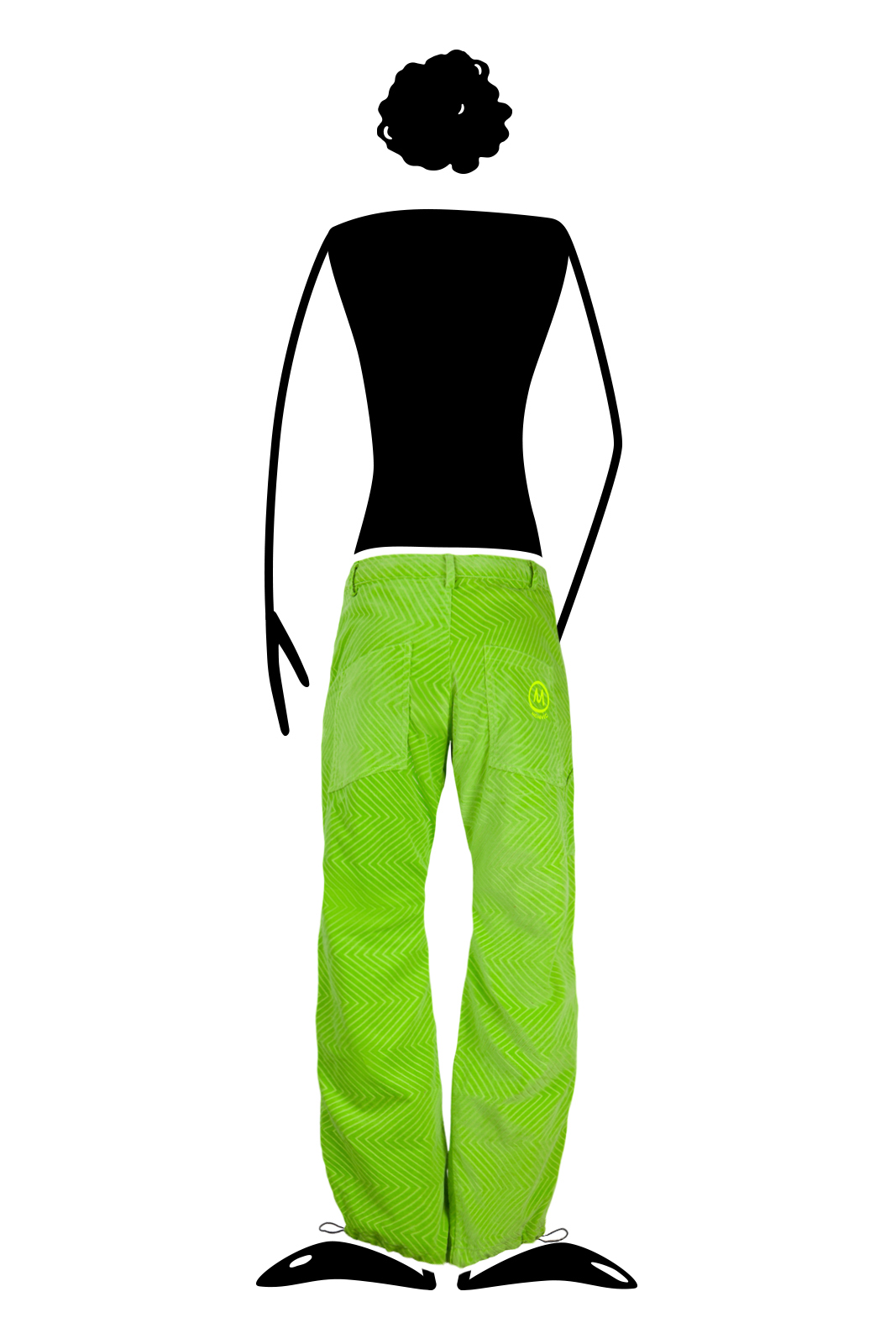 Men's Zig zag velvet trousers green lime for climbing GRILLO Monvic