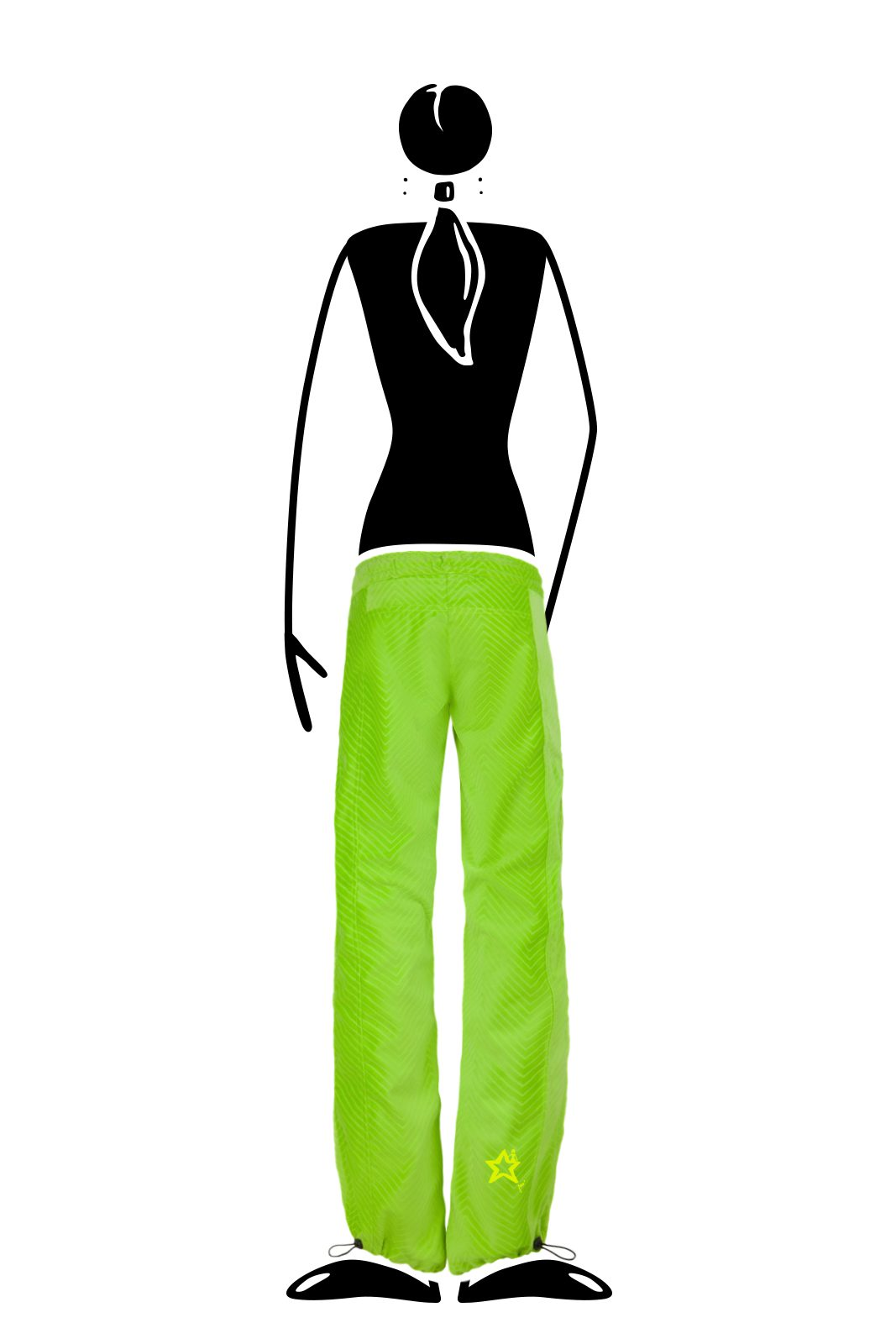 Women's Climbing trousers in soft stretch corduroy green lime VIOLET VELVET Monvic for sports