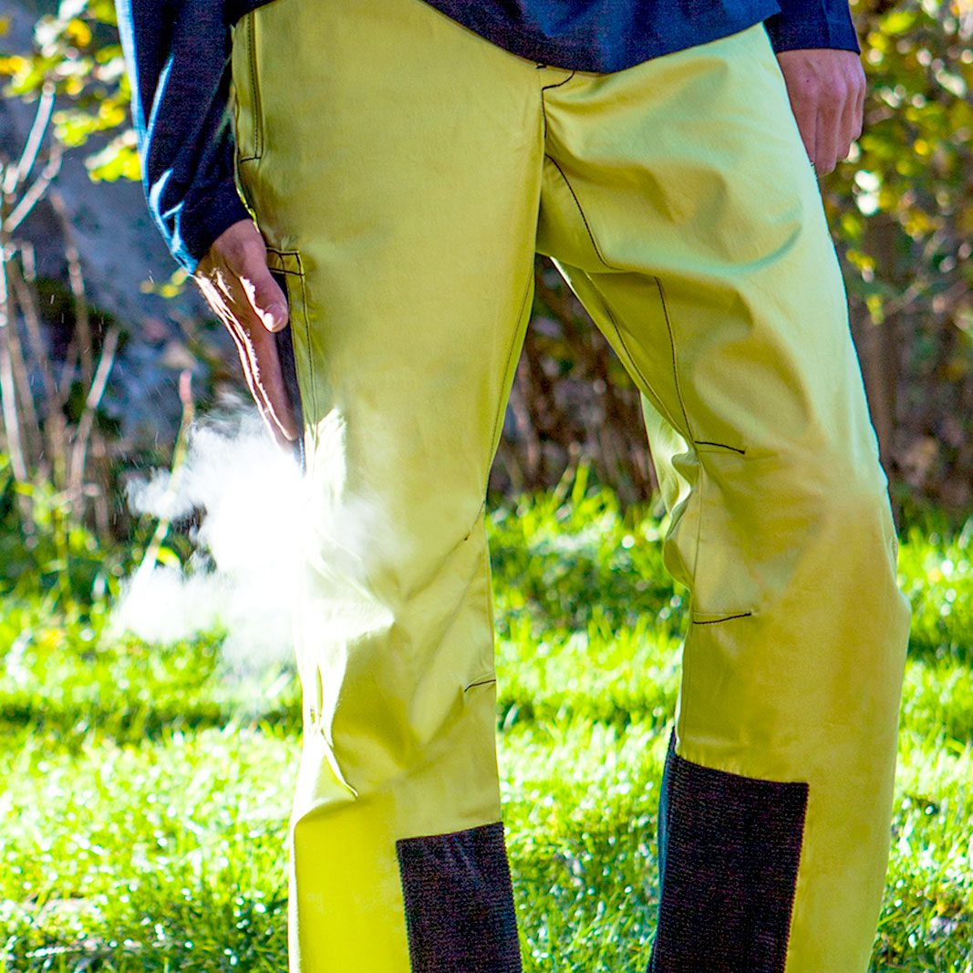 bouldering trousers with integrated magnesite pockets lime POWDER Monvic