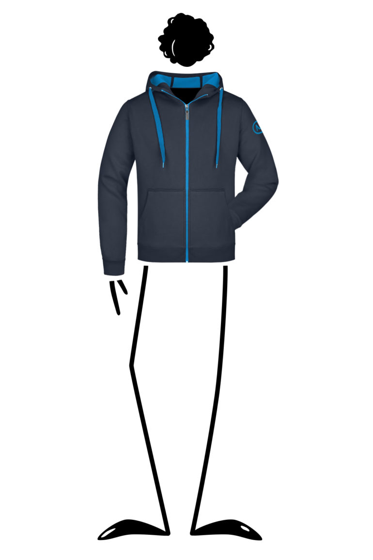 Hoodie men blue navy with turquoise zip GYMBO LIGHT Monvic