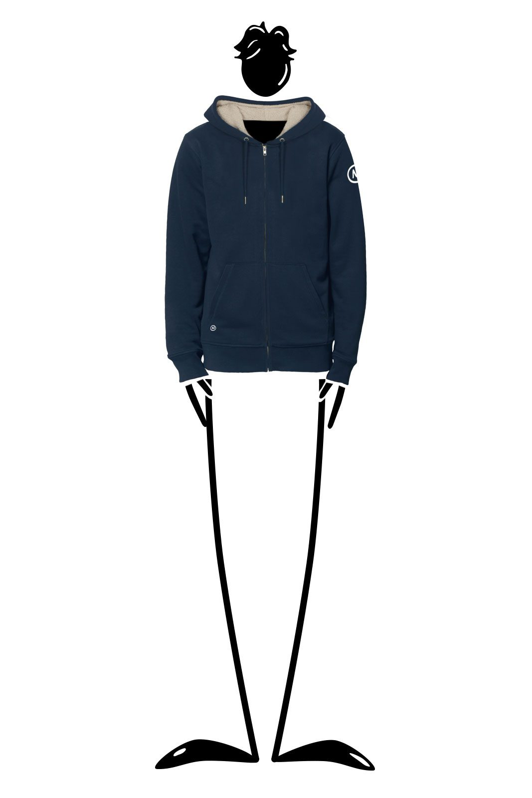 Hoodie full zip unisex navy blue for men SHERPA Monvic