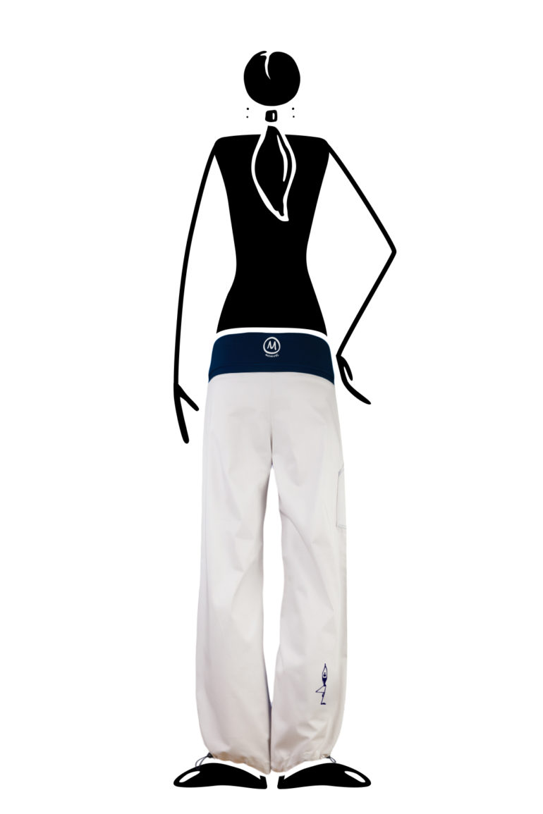 trousers women with waist band white and blue BALZEN Monvic