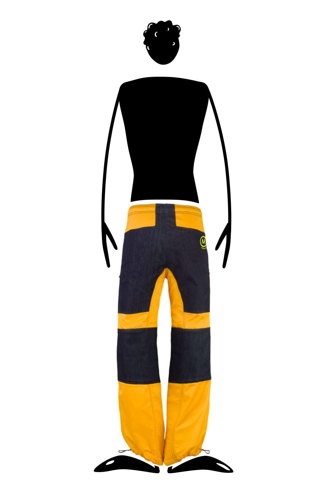 Slackline trousers CLOUDS Monvic yellow and denim