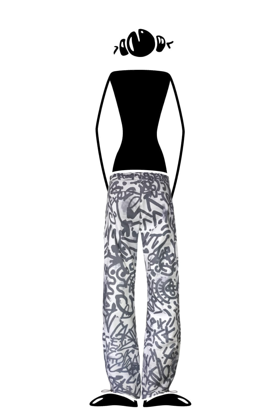 trousers women cotton white VIOLET graffiti Monvic