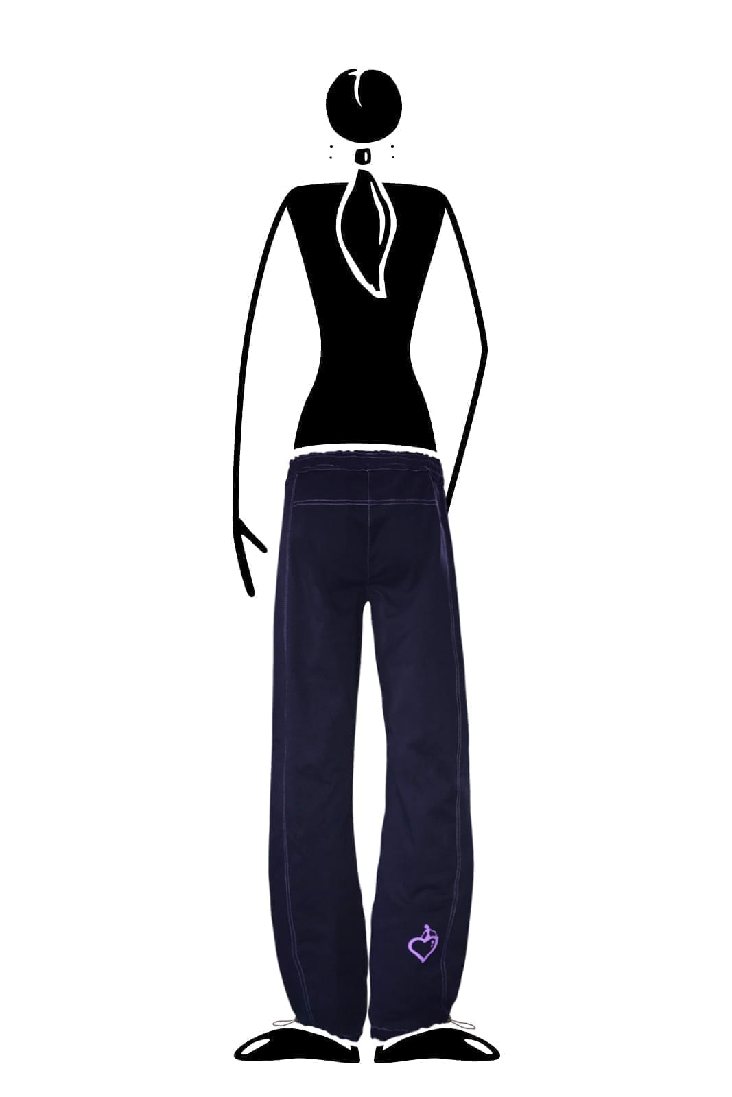 trousers women cotton navy blue VIOLET Monvic